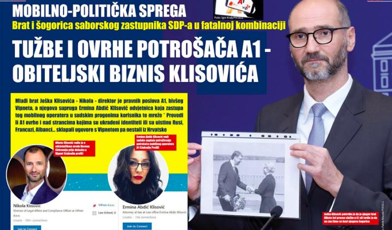 Brat i šogorica Joška Klisovića u tužbama i ovrhama protiv dužnika A1 Hrvatska