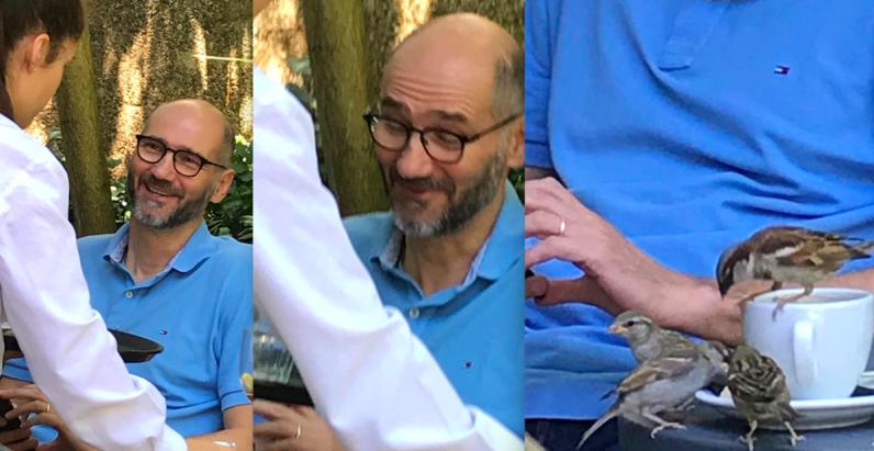 Joško Klisović udvarao konobarici pa nije zapazio da mu vrapci piju kavu i jedu keks
